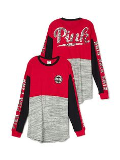 Cozy Bling Varsity Tee in Black, Gray and Red from PINK ($49.95, size XS)