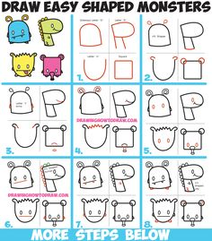 How to Draw Cute Cartoon Monsters from Simple Shapes, Letters and Numbers for Kids Easy Step by Step Drawing Tutorial