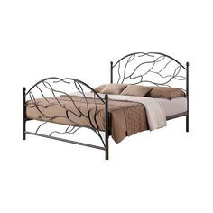 Zinnia Tree Style Metal Platform Bed ($322) ❤ liked on Polyvore featuring home, furniture, beds, brown, baxton studio bed, metal head boards, baxton studio, slat bed and brown bed