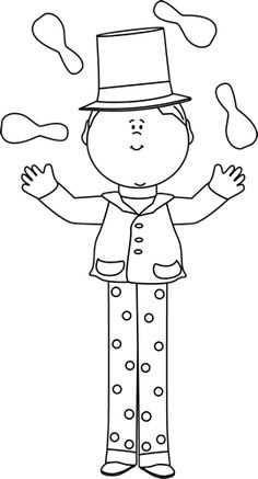 Black and White Kid on Stilts Juggling Clip Art - Black and White Kid on Stilts Juggling Image Preschool Circus, Kindergarten Crafts, Circus Art, Circus Theme, Coloring Sheets, Coloring Books, Sunday School Coloring Pages, Circus Decorations, Doodle People