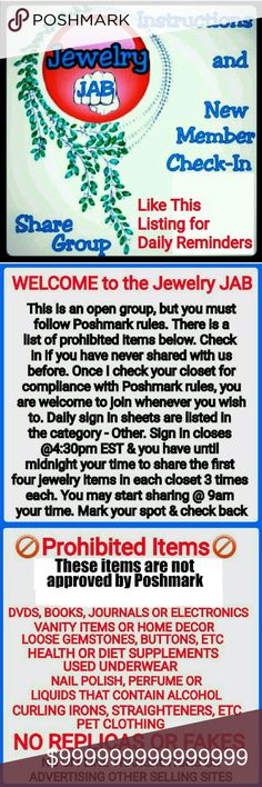 Join Us Today? Closing @3:30CST Please read the pics above. Then leave me a comment if you would like to get more exposure to your jewelry and join in some fun flexible sharing. More shares = more exposure = more sales. If you would like to post the last picture in your closet, I would be proud but it isn't required. And if you want to chat, this is the perfect place as well. PLEASE LIKE THIS LISTING to receive reminders that sign in is closing via price drop notifications. Jewelry