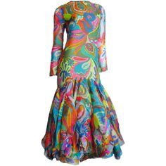Preowned Incredible 1960s Pierre Cardin Psychedelic Orb Hem Dress ($3,800) ❤ liked on Polyvore featuring dresses, vintage, multiple, long sleeve silk dress, vintage silk dress, vintage couture dresses, vintage dresses and vintage ruffle dress