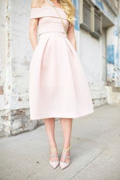 pale pink off the shoulder dress, rock stud heels and cross body bag purse