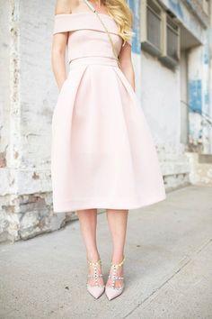 pale pink off the shoulder dress, rock stud heels and cross body bag purse