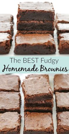 Best fudgy homemade brownies ever! Everyone needs a good recipe for brownies! You don't just need any brownie recipe, you need a super chocolatey and fudgy recipe. This easy recipe for homemade brownies made in one bowl uses just a few simple ingredients. Easy Desserts, Delicious Desserts, Simple Sweets Recipes, Simple Easy Recipes, Easy Dessert Recipies, Easy Recipes For One, Popular Recipes, Diy Dessert, Appetizer Dessert