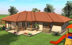 - Családi ház - Vértesszőlős My House Plans, House Floor Plans, Circle House, My Dream Home, Future House, Bungalow, Gazebo, Cottage, Exterior