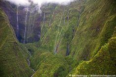 Waterfalls on Mt. Waialeale, Kauai, Hawaii. This spot is often called The Wall of Tears of Mt. Waialeale.