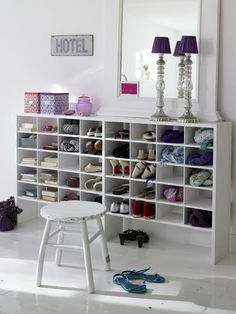 Shoe Storage in the bedroom/walk in wardrobe