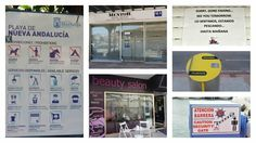 Linguistic landscape (bilingual in Spanish and English) on the Costa del Sol, Spain. English is the most used language on the tourist spots like Marbella, Torremolinos or Benalmadena. Benalmadena, Tourist Spots, Spanish, Photo Wall, Language, English, Landscape, Learn Spanish, Tourism