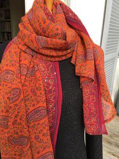 Long cheche mousseline, long foulard en mousseline, brodé main, sequins 7ece6c72e7e