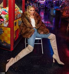 Jennifer Lopez Images, Side Ponytails, Fluffy Coat, Sheer Tank Top, Jean Top, Skin Tight, Fur Jacket, Style Inspiration, Tank Tops