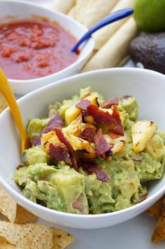 Grilled Pineapple and Bacon Guacamole. A delicious spin on the classic guacamole!! #cincodemayo #ad