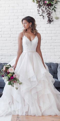 24 Lace Ball Gown Wedding Dresses You Love - Lace We .- 24 Spitze Ballkleid Brautkleider, die Sie lieben – Lace Wedding Dresses – 24 Lace Ball Gown Wedding Dresses You Love – Lace Wedding Dresses – Gown Dresses - Wedding Dress Black, Boho Wedding Dress With Sleeves, Country Wedding Dresses, Best Wedding Dresses, Bridal Dresses, Wedding Lace, Wedding Dresses With Ruffles, Modest Wedding, Layered Wedding Dresses