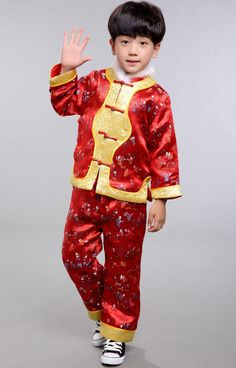 Shop traditional red brocade mascot pattern chinese style boy's wadded suit. Find latest oriental fashion products from idreammart.com.