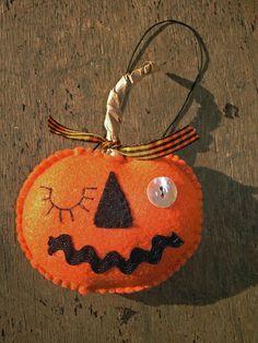 MadetoOrder Folk Art Felt Winking Halloween by MyDisgustedCats, $8.00