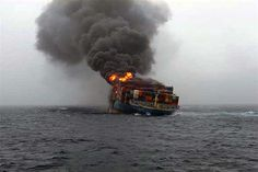 Container ship MOL Comfort ablaze