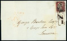 1841 1d. red-brown plate 8 OA with small to large margins all round, used on 1841 (May) cover to London, cancelled by black Maltese Cross and boxed ''MOTTRAM/P. P.''. S.G. Spec. AS47wa.