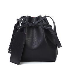 2016 Nuevo de Las Mujeres de la Pu del Lazo Bucket Bolsas de Hombro de Las Señoras Bolsa de Señoras de la Marca de Mensajero de La Vendimia bolsos de mujer Bolsos de Mano Negro