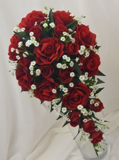Red roses babies breath white diamante garden style teardrop bouquet
