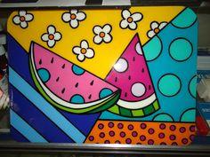 Melon pop-art by Romero Britto Britto Art, Kids Art Projects, Doodle Art, Indian Folk Art, Large Canvas Art Bedroom, Art, Childrens Art, Canvas Art, Pop Art