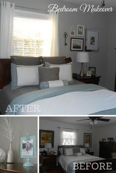 Bedroom Makeover complete with frames from Michaels Savannah Collection and Benjamin Moore Cape Hatteras Sand.