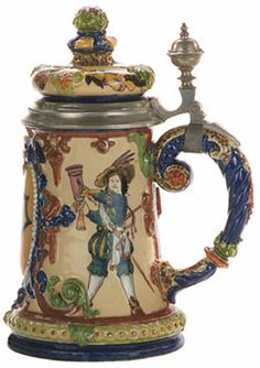 Majolica beer stein with enamelled relief scenes of Lansquenets drinking, prob. Austria c. 1880