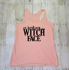 Resting witch face halloween tank, Workout tanks for women, Workout shirts, Racerback tank, Gym tops, Fitness tank, Tank tops for women