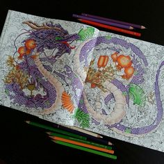 "Páči sa mi to: 51, komentáre: 3 – Stanka (@stanislava007) na Instagrame: ""My dragon is almost finished. And the background?🤔🤔🤔 Mythomorpia_Kerby Rosanes #adultcolouring…"""