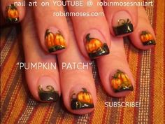 AUTUMN PUMPKIN PATCH NAILS : robin moses fall nail art design tutorial