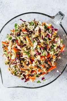 An image of an easy Asian slaw made with bagged coleslaw mix, along with lots of fresh vegetables and a peanut dressing. Asian Coleslaw, Asian Slaw, Coleslaw Mix, Oriental Coleslaw, Slaw Recipes, Healthy Recipes, Frugal Recipes, Rice Recipes, Healthy Eats