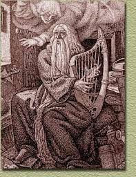 Interprétation abusive d'un Merlin vieux et barbu. On peut être jeune et barde sans longue barbe. Ceci est dû à la confusion entre deux personnages éloignés de près d'un siècle dans l'Histoire. Le 'Merlin' de 474, contemporain d'un Jules césar était un jeune commandant de cavalerie. Celui représenté ici est un 'Myrddin' de 570. Or, il faut rappeler que Viviane, une toute jeune fille, était amoureuse d'un jeune homme.