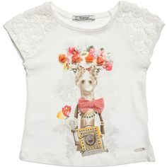 Mayoral Giraffe Print T-Shirt with Lace Sleeves at Childrensalon.com