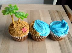 cutest cupcakes love this idea. Have a dozen blue cupcakes with one island. Beach Cupcakes, Cute Cupcakes, Tropical Cupcakes, Decorate Cupcakes, Party Cupcakes, Icing Cupcakes, Vanilla Cupcakes, Cake Central, Cute Food