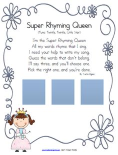 """Phonological Awareness: Rhyme Recognition; song, """"Super Rhyming Queen"""""""