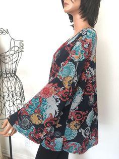 Dressbarn Plus Size 1X  Woman Tunic Designer Fashion Floral Swirles Hip Chic   | eBay
