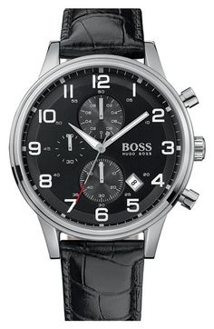 BOSS Black Leather Strap Chronograph Watch | Nordstrom