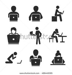 Man with laptop vector icons. Simple illustration set of 9 man with laptop elements, editable icons, can be used in logo, UI and web design