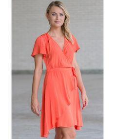 Orange Flutter Sleeve Wrap Dress, Cute Summer Dress Online, Orange Sundress Lily Boutique