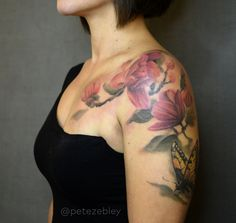 Magnolia Branches Tattoo with Butterfly by Pete Zebley