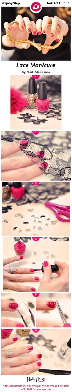 Lace Manicure by NailsMagazine - Nail Art Gallery Step-by-Step Tutorials nailartgallery.nailsmag.com by Nails Magazine www.nailsmag.com #nailart