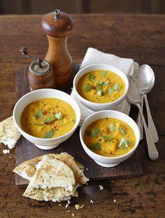 Curried squash, lentil and coconut soup