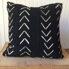 18 Inch Black and White African Mud Cloth Pillow by OneFineNest