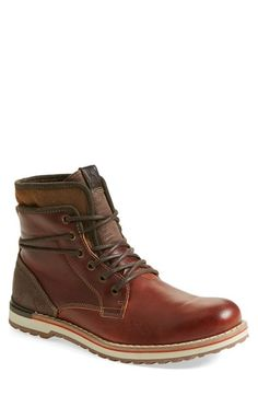 ALDO 'Popak' Plain Toe Boot (Men), Beefy leather shapes a ruggedly styled boot trimmed with touches of weathered suede. Aldo Shoes Mens, Mens Shoes Boots, Mens Boots Fashion, Sock Shoes, Men's Shoes, Shoe Boots, Men's Fashion, Leather Men, Leather Boots