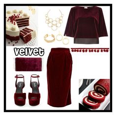 """Red velvet"" by aj36935 ❤ liked on Polyvore featuring Hermès, Privileged, River Island, Edie Parker, Vita Fede, BCBGMAXAZRIA and Vera Bradley"
