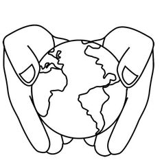 Earth Holding Flag coloring picture for kids  Earth Day