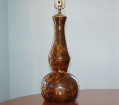 Mid Century Ceramic Lamp Honey Gold Brown by CobblestonesVintage