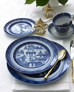 "Blue Canton    The most fashionable tables in the early American Republic were set with blue and white ""Canton"" ware, so called for the great Chinese trading port from which it came. Chinese blue and white porcelain was in demand well into the 19th century and has been part of the heritage of many American families. Blue Canton faithfully recaptures this centuries old tradition and taste."
