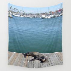 Sea Lion Smile Wall Tapestry  #walltapestry #tapestry #tapestries #homedecor #art #photography #longbeach #LBC #sealion #seal #nature #ocean #rainbowharbor #cute #smile #bay #ocean #ilovelongbeach