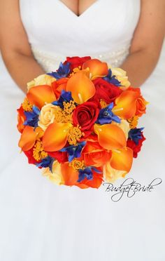 Davids Bridal Fall Wedding Bouquet blue orchid red roses real touch calla lilies orange lily yellow artificial fake forever flowers fall theme ideas bright #orchidsbouquet #fallweddingflowers