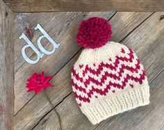 Handmade Knitwear, Custom Hats, and Accessories by DeJongDesign Baby Hat Knitting Pattern, Fair Isle Knitting Patterns, Knitting Stitches, Free Knitting, Knitted Hats, Crochet Hats, Crochet Granny, Knit Picks, Slouchy Beanie